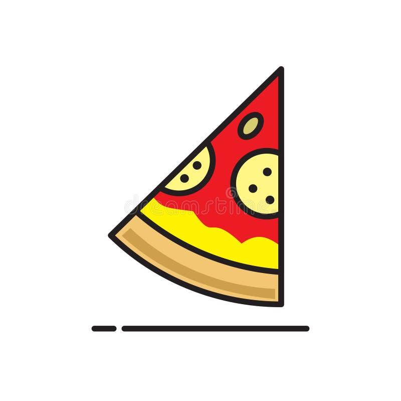 Pizzasymbol på vit bakgrund för diagrammet och rengöringsdukdesignen, modernt enkelt vektortecken för färgbegrepp för bakgrund bl vektor illustrationer