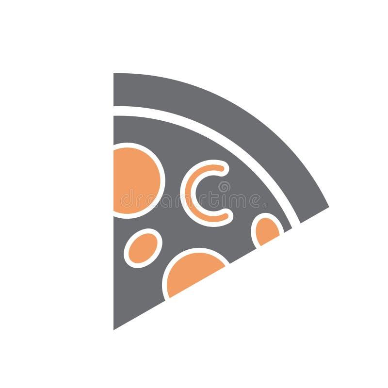 Pizzasymbol på vit bakgrund för diagrammet och rengöringsdukdesignen, modernt enkelt vektortecken för färgbegrepp för bakgrund bl royaltyfri illustrationer