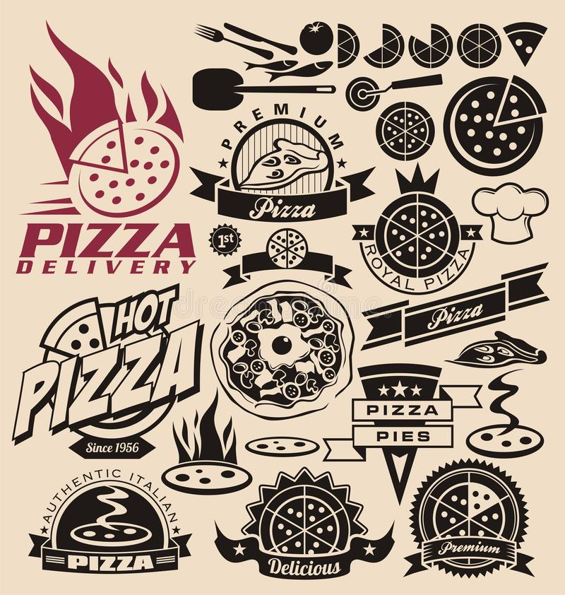 Pizzasymboler och etiketter royaltyfri illustrationer