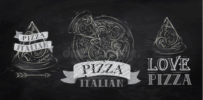 Pizzasymbool. Krijt. vector illustratie