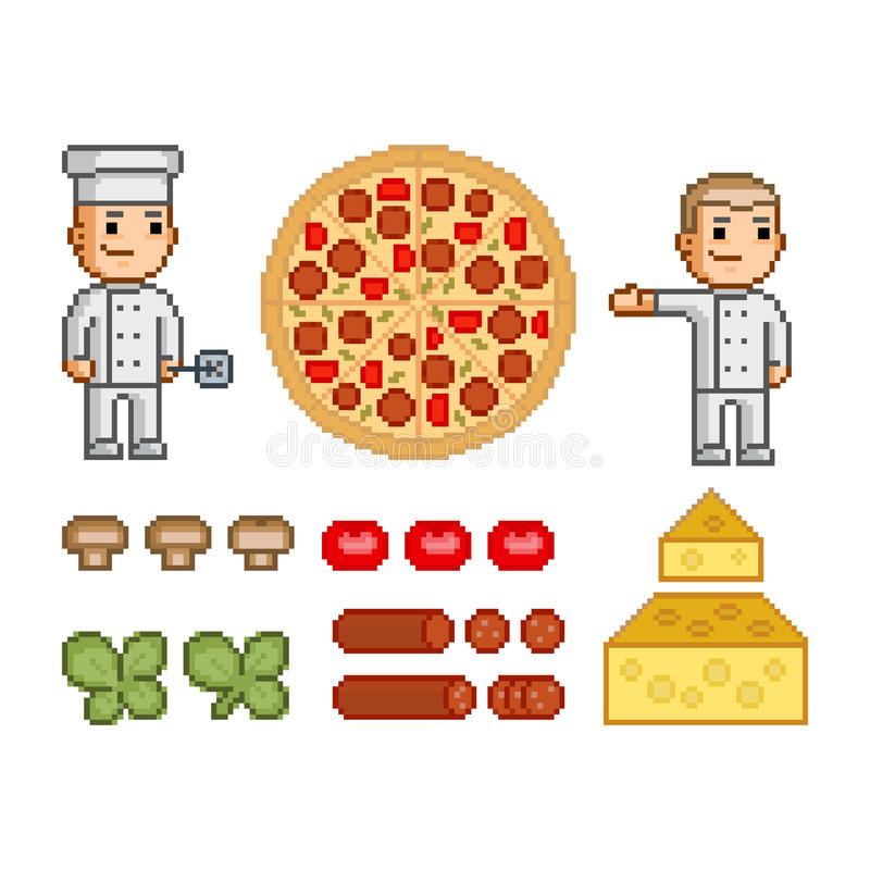 Pizzatillverkare, pizza och ingredienser stock illustrationer