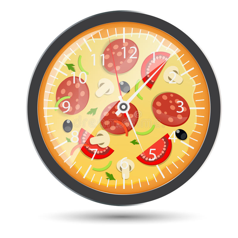 Pizzauhrkonzept-Vektorillustration lizenzfreie abbildung