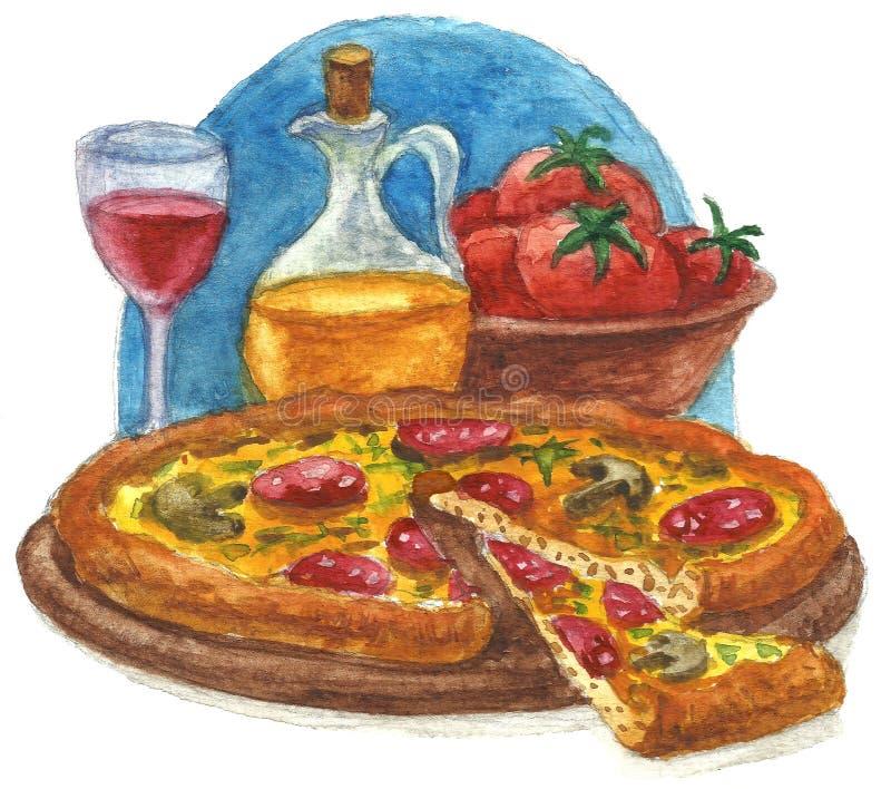 Pizzavattenfärg stock illustrationer