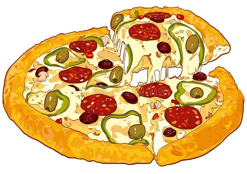 pizzavektorversion royaltyfri illustrationer