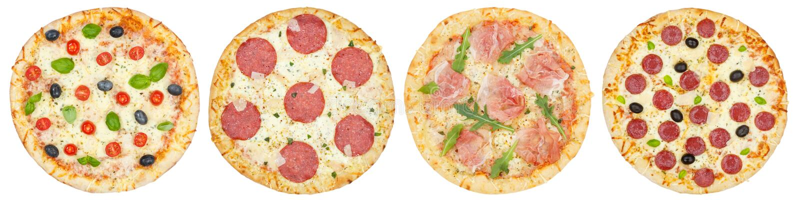 Pizze della pizza in un collage della raccolta di fila da sopra isolato su bianco immagine stock