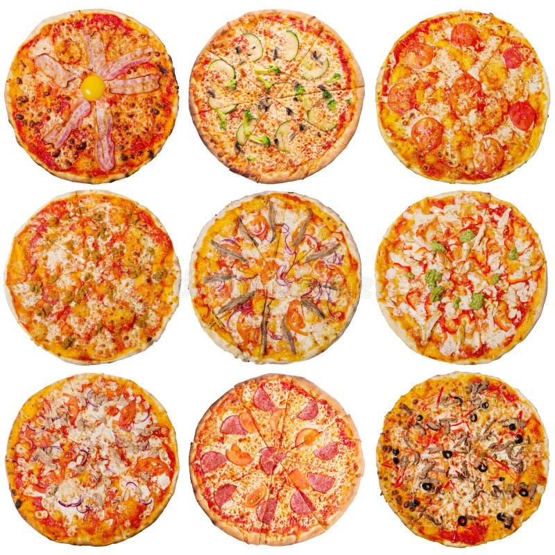 Pizze isolate su fondo bianco fotografie stock libere da diritti