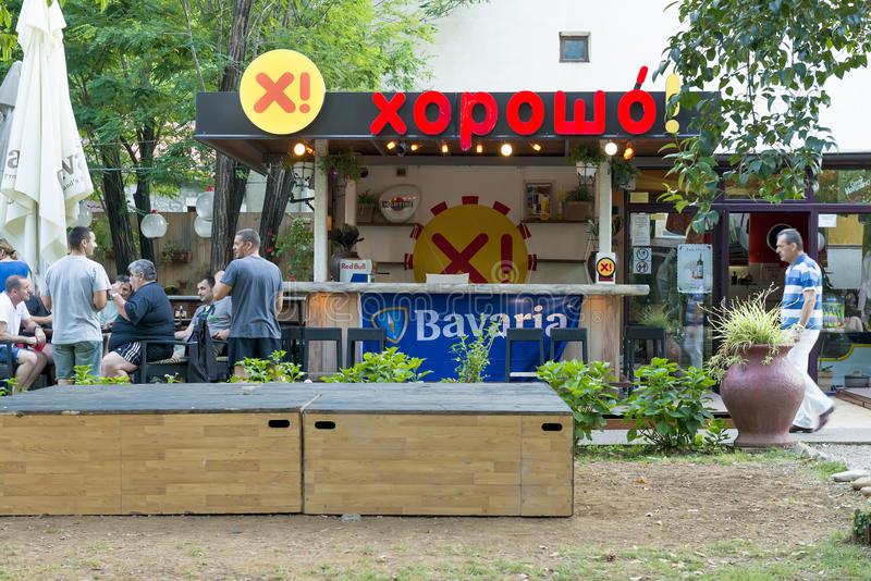 Pizzería del café de la calle en Budva montenegro fotografía de archivo libre de regalías
