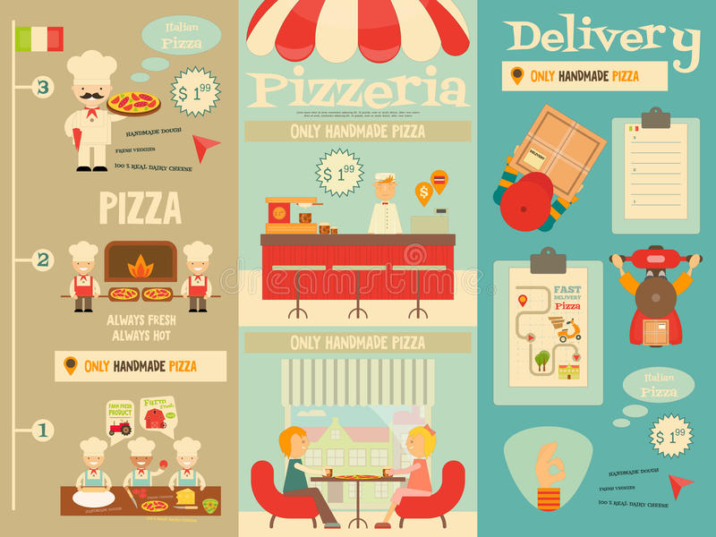 pizzeria vektor illustrationer