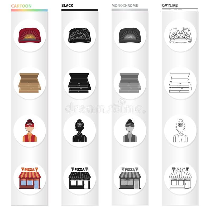 Pizzeria, café, restaurant et toute autre icône de Web dans le style de bande dessinée Fille, bâtiments, constructions, icônes da illustration stock