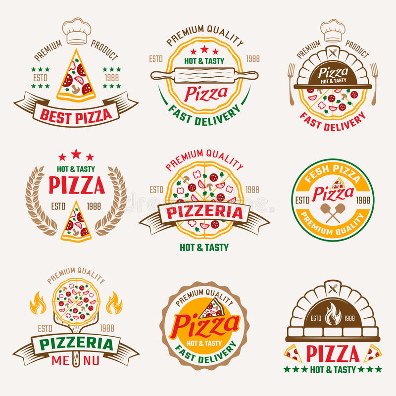 Pizzeria Colored Emblems royalty free illustration