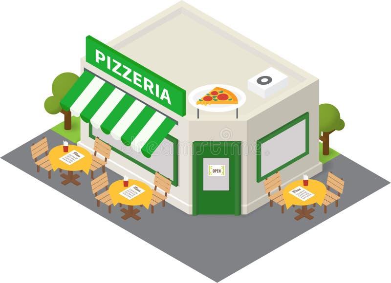 Pizzeria-Gebäudeikone des Vektors isometrische lizenzfreie abbildung