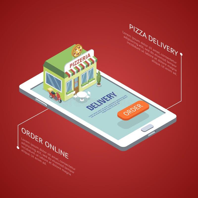 Pizzeria gesetzt auf Smartphone stock abbildung