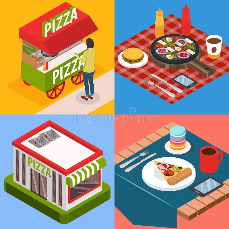 Pizzeria-isometrisches Konzept des Entwurfes stock abbildung