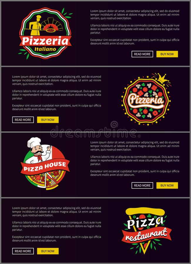 Pizzeria Italiano sieci Ustalona Wektorowa ilustracja ilustracji