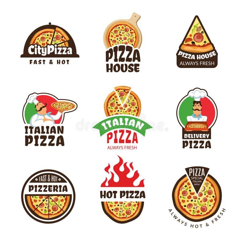 Pizzeria logo Włoski pizza składników restauraci kucharza trattoria lunch barwił wektorowe etykietki lub odznaki ilustracja wektor