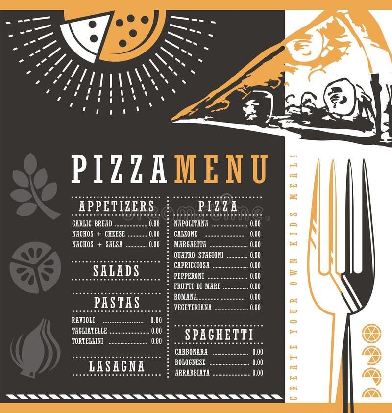 Pizzeria menu graficznego projekta pomysł royalty ilustracja