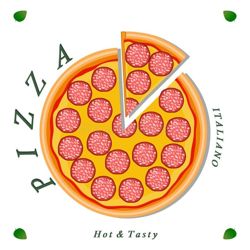 Pizzeria menu pokrojonego trójboka cała gorąca pizza ilustracja wektor