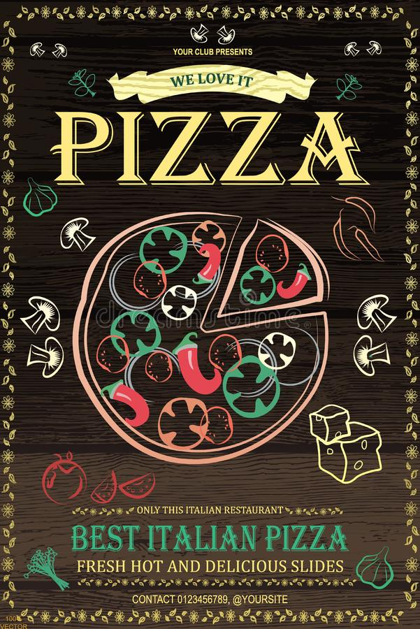 Pizzeria menu poster or flyer design with food icons. Background for your design on wooden background royalty free illustration