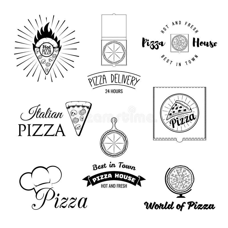 Pizzeria menu rocznika projekta elementy i odznaki ustawiający Kolekcja wektorowi pizza znaki, symbole i ikony, ilustracji
