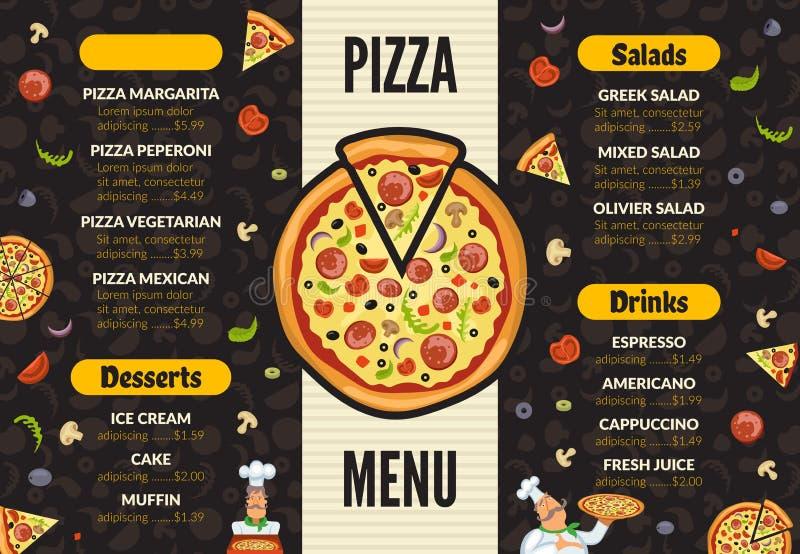 Pizzeria menu szablon Włoskiej kuchennej kuchni pizzy karmowi składniki gotuje lunchu i deserów wektoru tło ilustracja wektor