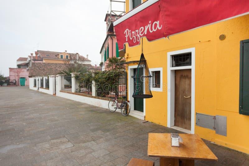 Pizzeria nell'isola di Burano immagine stock