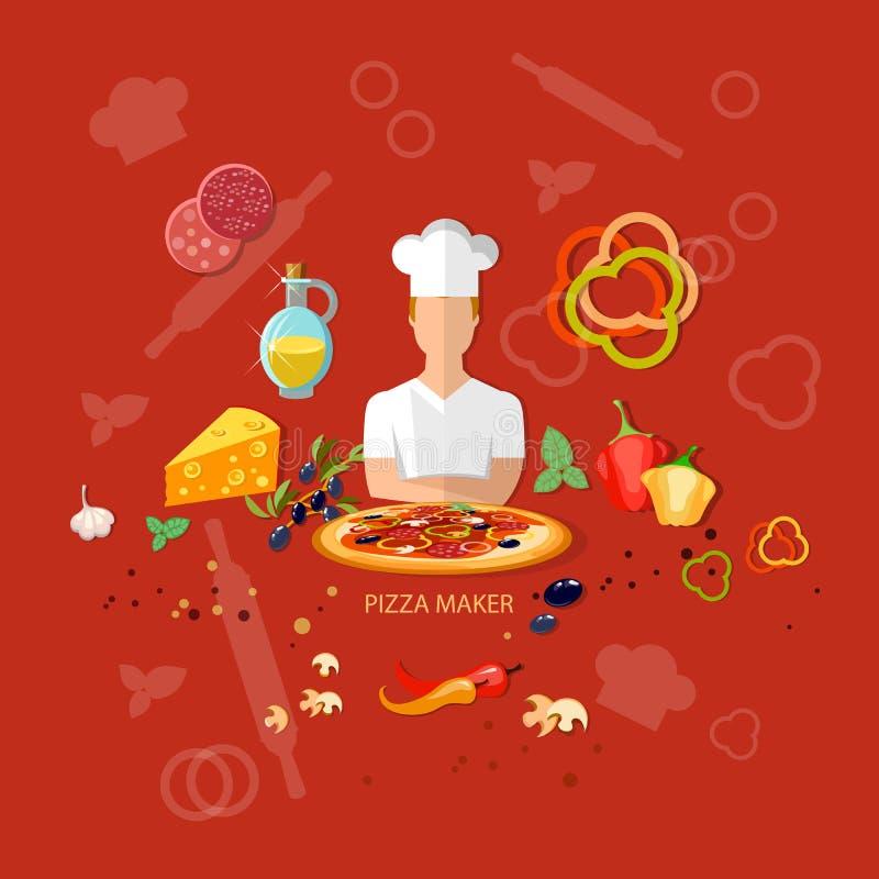 Pizzeria pizzy składników kucbarscy pomidory serowi ilustracja wektor