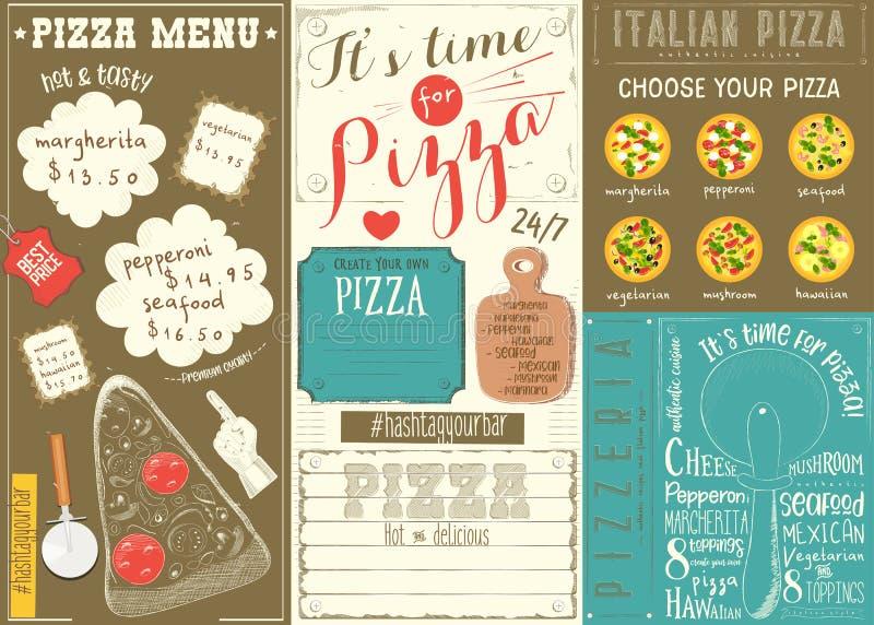 Pizza Menu Placemat stock illustration