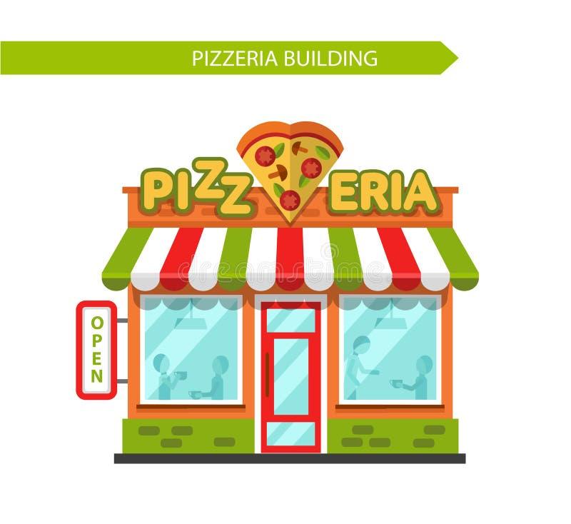 Pizzeria sklepowy budynek ilustracja wektor