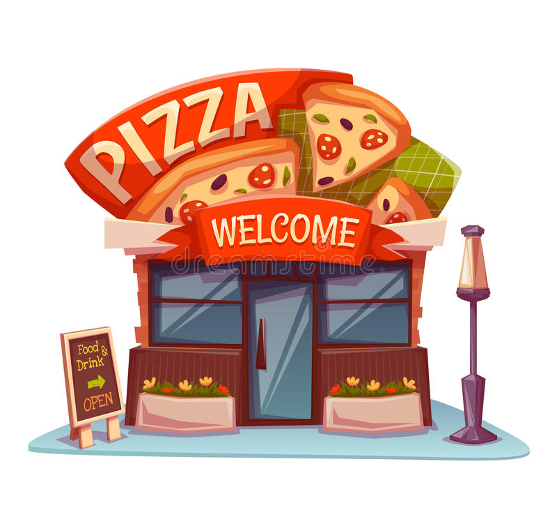 Pizzeria som bygger med det ljusa banret vektor vektor illustrationer