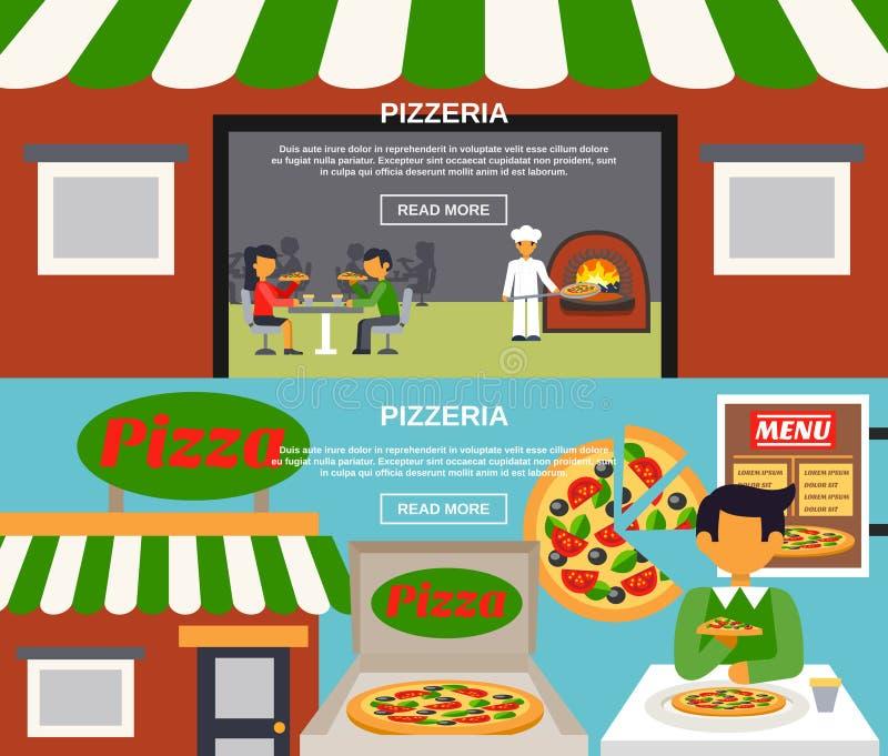 Pizzeria sztandary Ustawiający ilustracja wektor