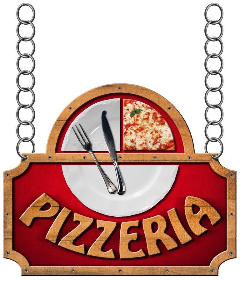 Pizzeria - tecken med metallkedjan royaltyfri illustrationer