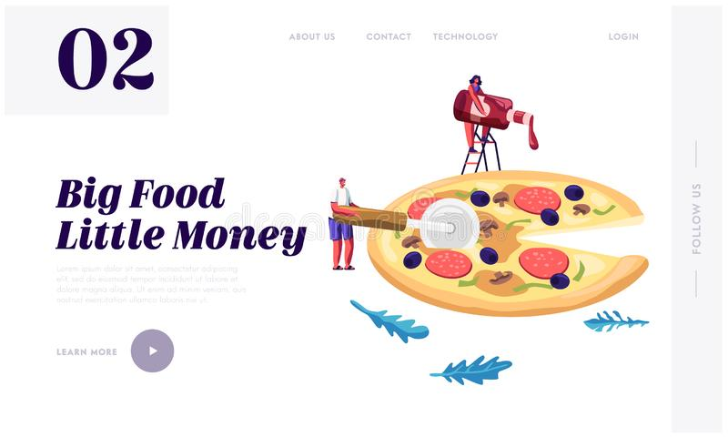 Pizzeria Website Landing Page, Tiny People Eating Huge Pizza. Male and Female Characters Try Tasty Italian Food. Fast Food, Cafe royalty free illustration