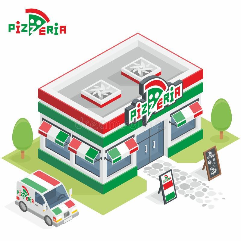 Pizzeriabyggande vektor illustrationer