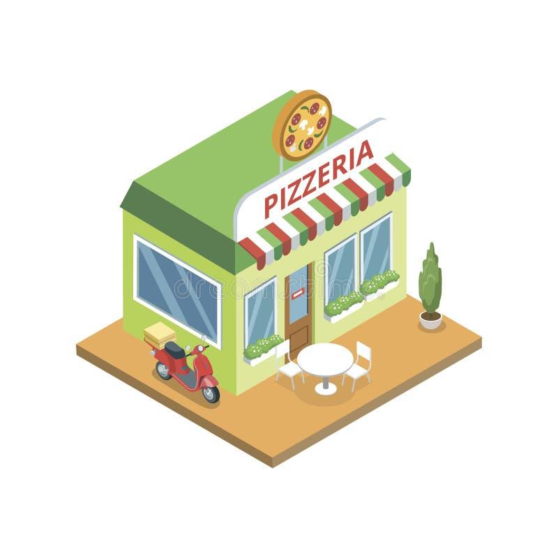 Pizzeriagebäude in isometrischem lizenzfreie abbildung