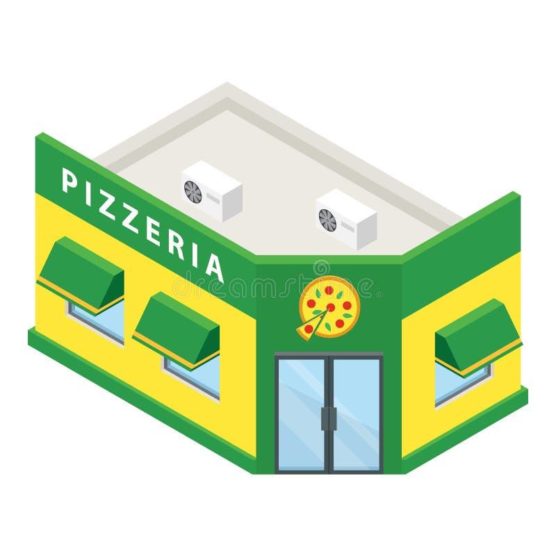 Pizzeriagebäudeikone, isometrische Art vektor abbildung