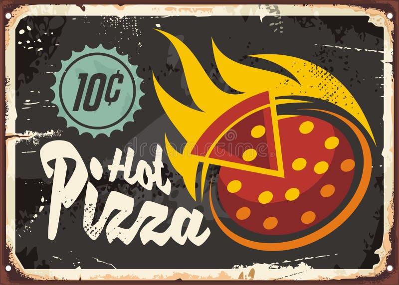 Pizzeriarestaurangtecken royaltyfri illustrationer