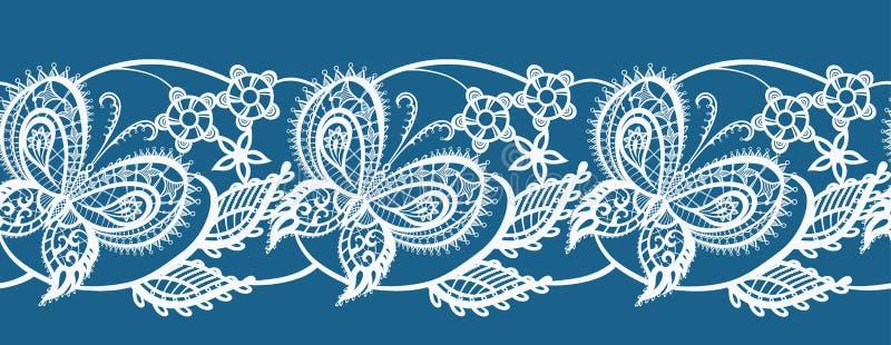 Pizzo astratto del nastro con i fiori e le farfalle royalty illustrazione gratis