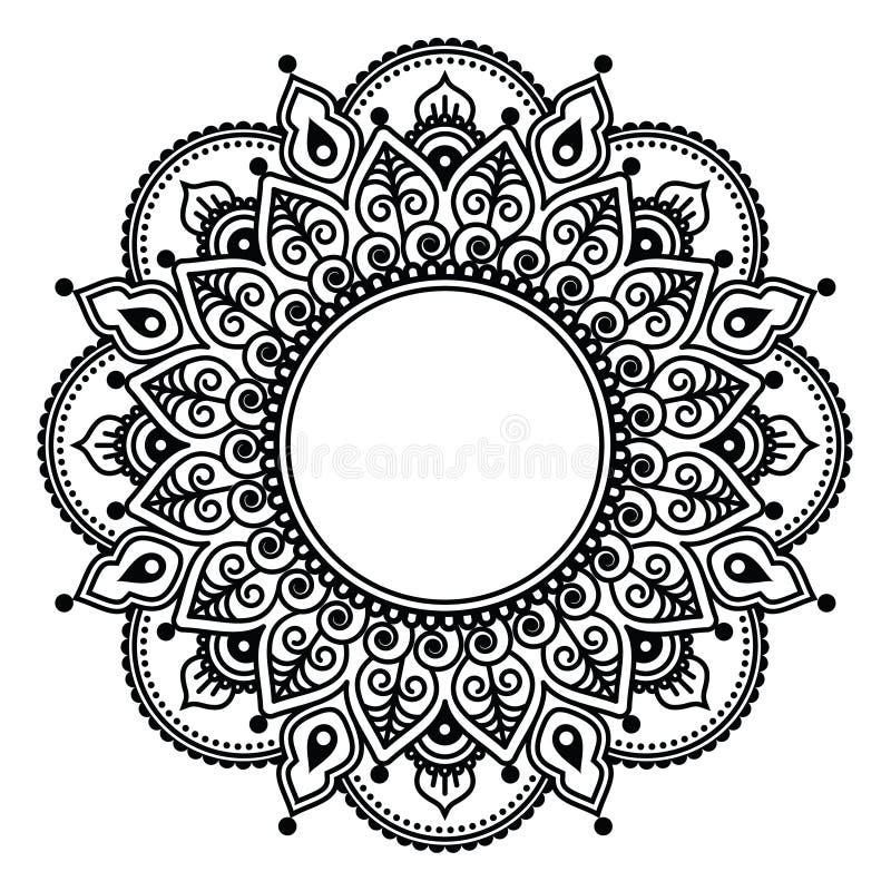 Pizzo di Mehndi, progettazione rotonda o modello del tatuaggio indiano del hennè royalty illustrazione gratis
