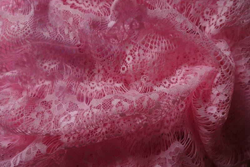 Pizzo rosa ricco della guipure in popolare immagine stock