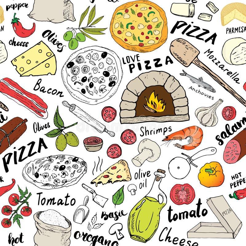 Pizzy bezszwowa deseniowa ręka rysujący nakreślenie Pizza Doodles Karmowego tło z mąką, inni karmowymi składniki, piekarnik i kuc royalty ilustracja