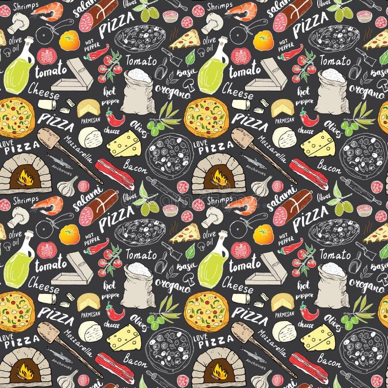 Pizzy bezszwowa deseniowa ręka rysujący nakreślenie Pizza Doodles Karmowego tło z mąką, inni karmowymi składniki, piekarnik i kuc ilustracja wektor