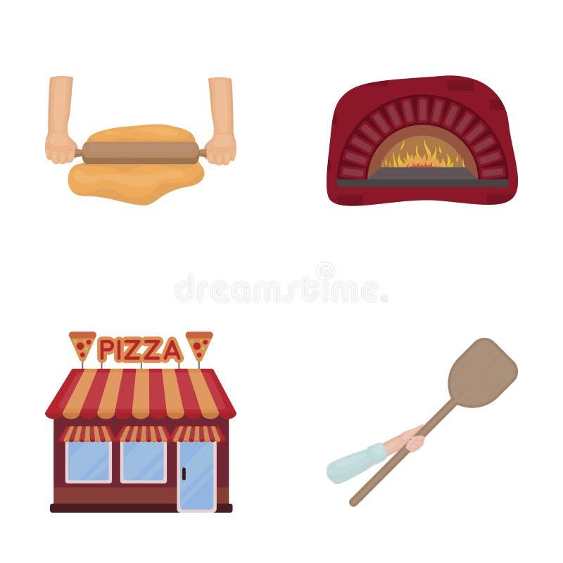 Pizzy ciasto, piekarnik, pizzeria buduje, szpachelka dla sztabek Pizza i pizzeria ustawiać inkasowe ikony w kreskówce projektujem ilustracji