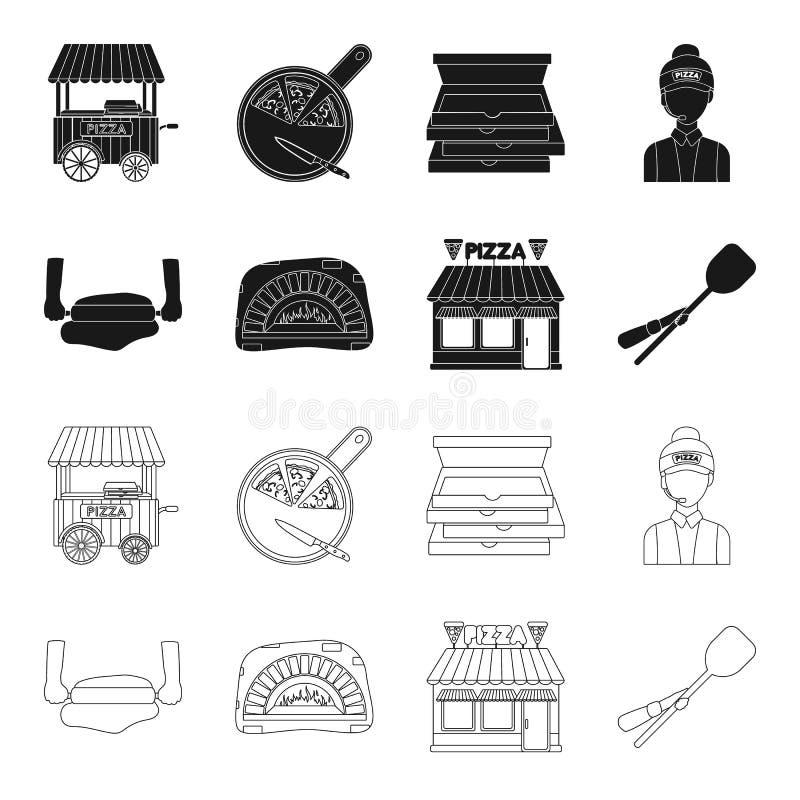 Pizzy ciasto, piekarnik, pizzeria buduje, szpachelka dla sztabek Pizza i pizzeria ustawiać inkasowe ikony w czerni, kontur ilustracji