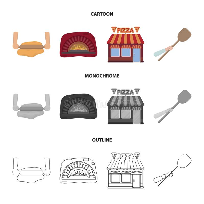 Pizzy ciasto, piekarnik, pizzeria buduje, szpachelka dla sztabek Pizza i pizzeria ustawiać inkasowe ikony w kreskówce, kontur royalty ilustracja