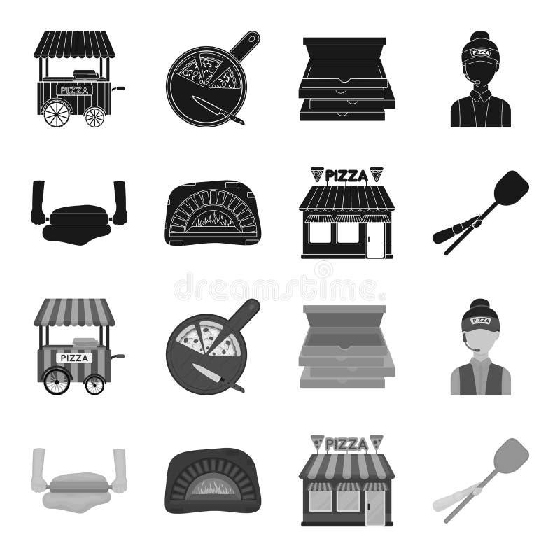 Pizzy ciasto, piekarnik, pizzeria buduje, szpachelka dla sztabek Pizza i pizzeria ustawiamy inkasowe ikony w czarnym, monochrom ilustracja wektor