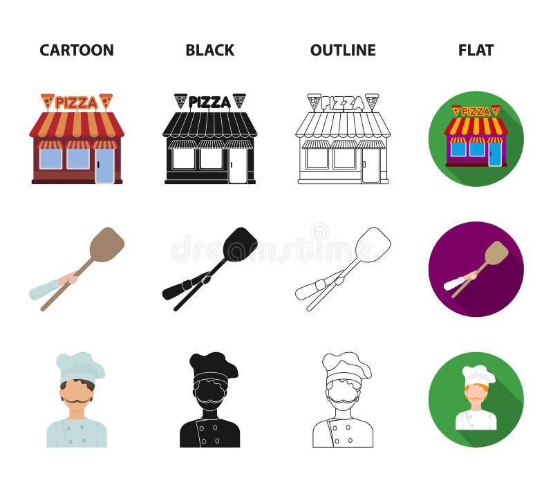 Pizzy ciasto, piekarnik, pizzeria buduje, szpachelka dla sztabek Pizza i pizzeria ustawiamy inkasowe ikony w kreskówce, czerń royalty ilustracja