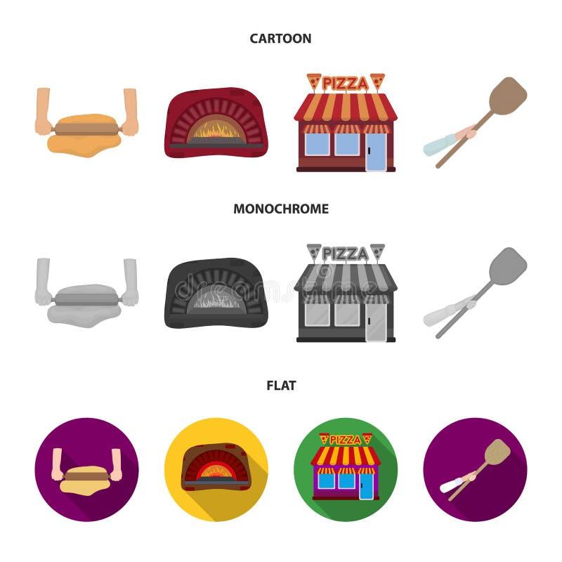 Pizzy ciasto, piekarnik, pizzeria buduje, szpachelka dla sztabek Pizza i pizzeria ustawiamy inkasowe ikony w kreskówce, mieszkani ilustracja wektor