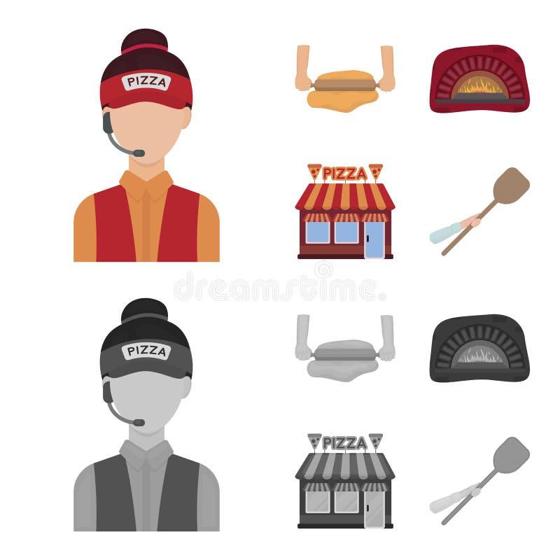 Pizzy ciasto, piekarnik, pizzeria buduje, szpachelka dla sztabek Pizza i pizzeria ustawiamy inkasowe ikony w kreskówce, monochrom ilustracja wektor