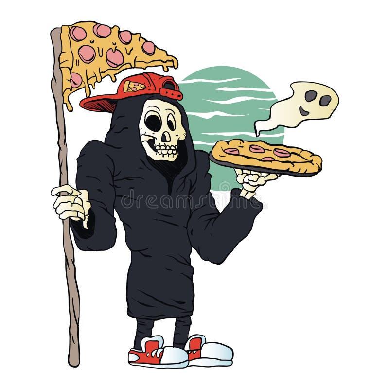 Pizzy doręczeniowa żniwiarka ponura royalty ilustracja