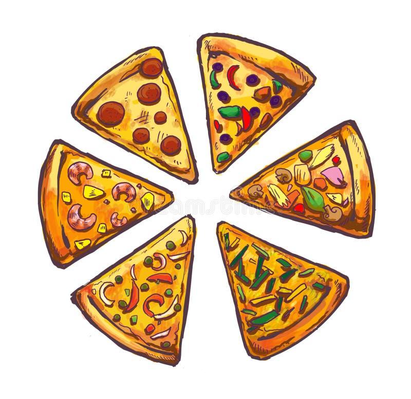 Pizzy fasta food illustartion royalty ilustracja